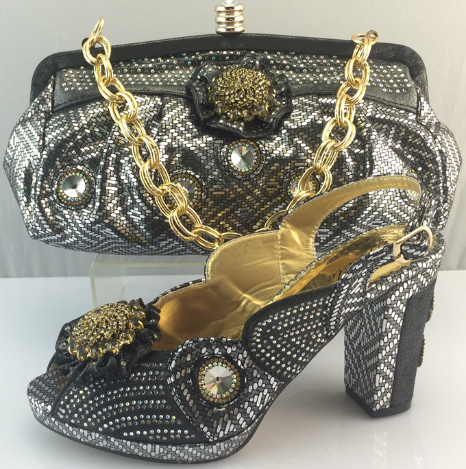 ФОТО ME3311 Matching Italian Shoes And Bag Wholesale African Shoes And Bag Set High Quality Gray Color Size 38-42