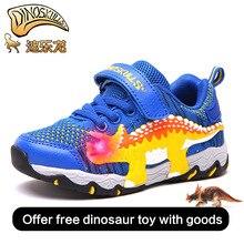 Dinoskulls детская спортивная обувь для мальчиков обувь из сетчатого материала дышащие 2018 новый осень обувь со светодиодной подсветкой дышащие с динозавром для мальчиков