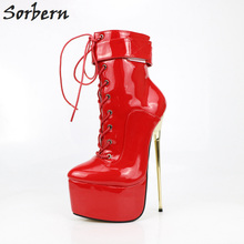 Sorbern Red Shiny Ankle Boots For Women 22Cm Metal High Heels Ladies Shoes Platform Shoes New 2018 Custom Colors Lace-Up sorbern white platform shoes knee high boots for women wedge high heel ladies shoes booties womens shoes custom colors big size