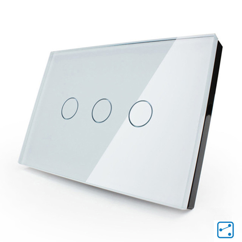 Free shipping US/AU Standard Wall Light Touch Screen Switch 3 Gang 2 Way White Crystal Glass LED AC110V-250V hot sale in RU