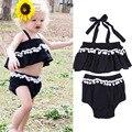 Halter top preto curto bebê roupas de menina set crianças tesouro bola estilingue roupas roupa infantil swim beach wear para recém-nascidos bebes