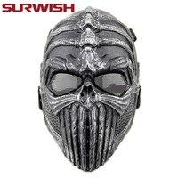 SURWISH Overhead Cráneo Máscara CS Máscara Juego De Guerra Al Aire Libre Caza Skull Skeleton Airsoft Paintball Táctico de La Cara Llena Máscara Protectora