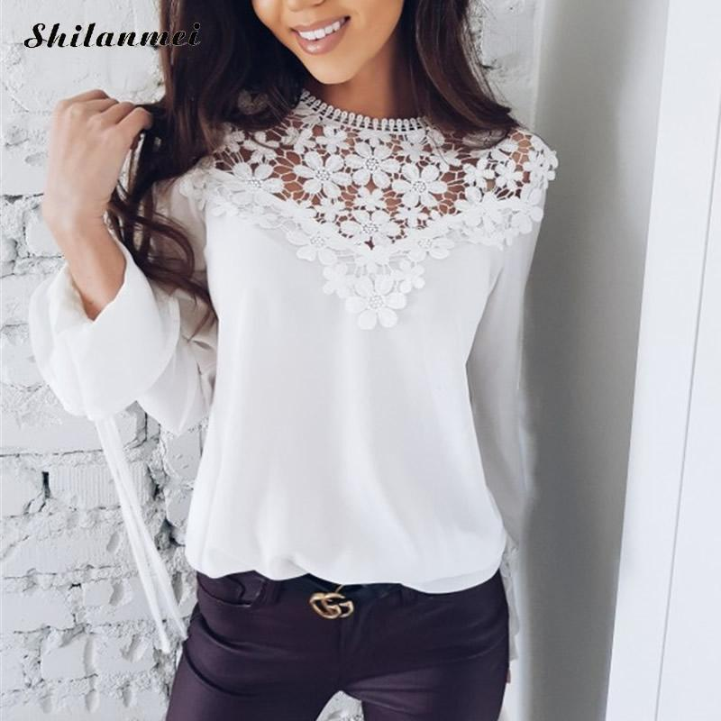 Elegant white lace flower blouse shirt hollow out jacquard blusas elegant white lace flower blouse shirt hollow out jacquard blusas women long sleeve blouse tops ol work women ladies top shirt mightylinksfo