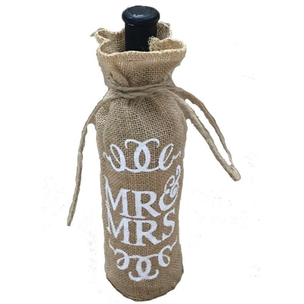 Mr.& Mrs Jute Burlap Wine Bottle Cover Gift Bag Wedding Christmas ...