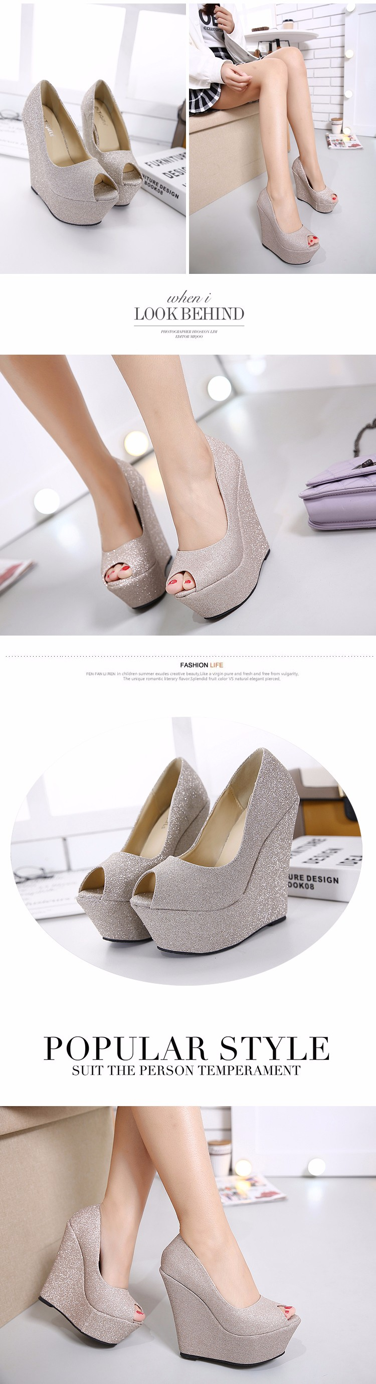 glitter shoes Platform shoes High Heels gold silver wedding Shoes peep toe High Heels Pumps Platform shoes Wedges pumps D925 3