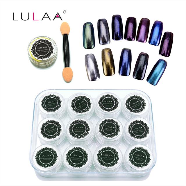 1g * 12 unid esmalte de uñas Brillo Cromo Espejo Mágico Polvo de Metal Nail Art Escarcha Polvo Del Pigmento Herramientas de BRICOLAJE manicura + Pincel de Esponja