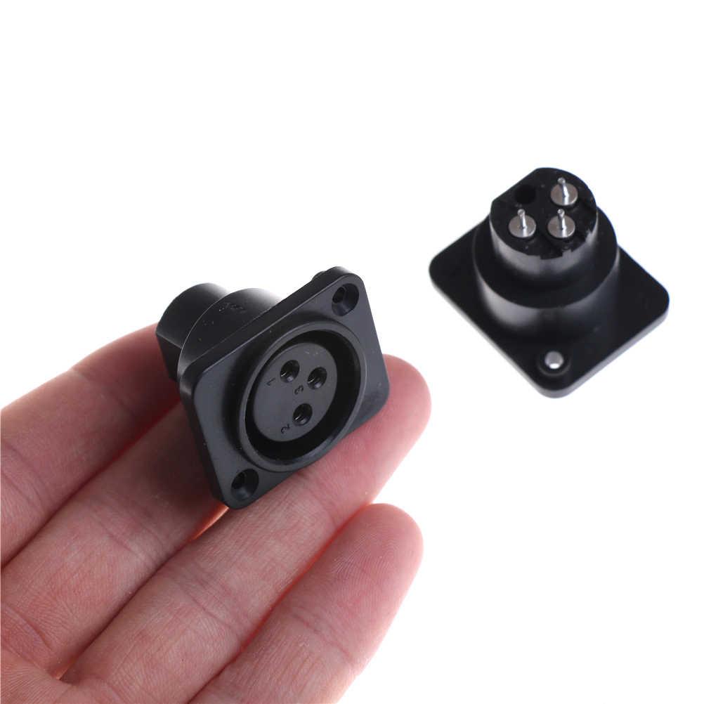 2 Chiếc XLR 3 Pin Nữ Chống Nước Khung Xe Bảng Điều Khiển Gắn Ổ Cắm Adapter Hàn Điện Mic Cổng Kết Nối Đen