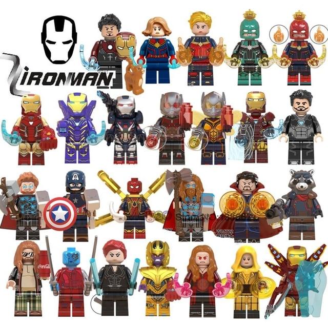 Homem de ferro Avengers 4 Endgame Capitão Marvel Thanos Doutor Estranho o Homem Formiga Guaxinim Foguete Spiderman Thor Blocos de Construção de Brinquedos de Presente