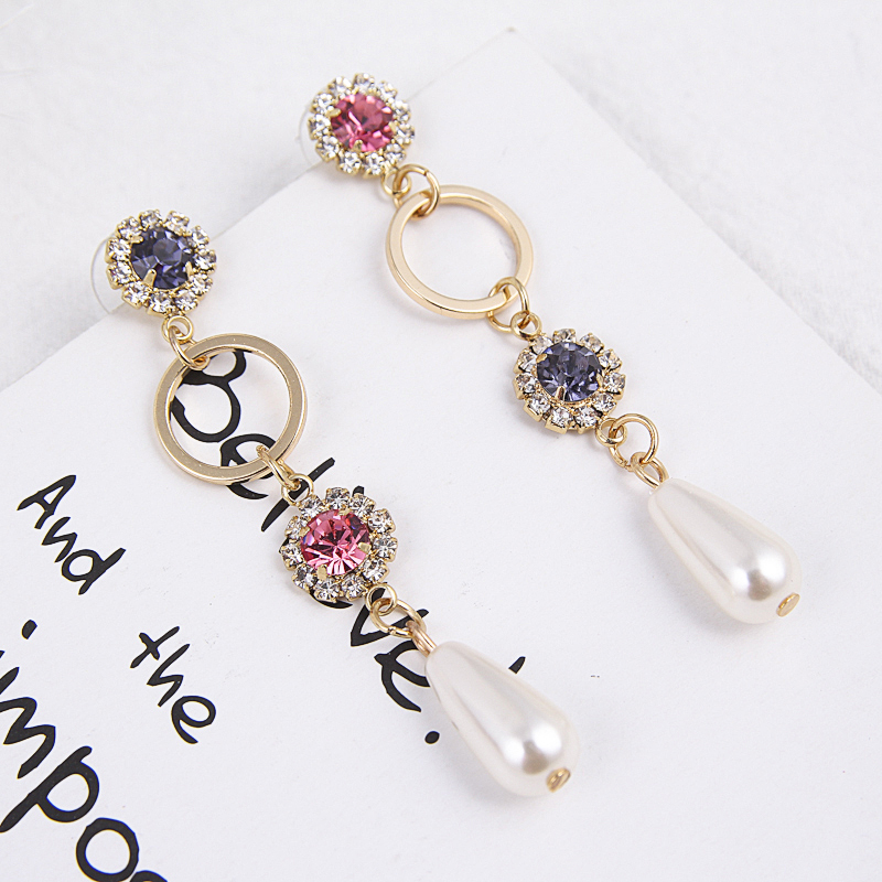 New Colorful Rhinestone Long Round Circle Earrings for Women Water Drop Simulated Pearl Dangle Earring Fashion Jewelry EC663