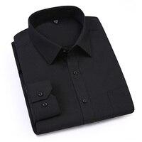 AOWOFS 8XL Social Shirts Long Sleeve Mens Dress Shirts Black 3XL 4XL 5XL 6XL 7XL Formal