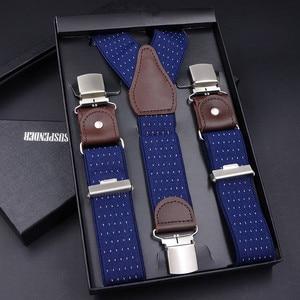 Image 4 - 63 Colors Mens Suspenders  3/6 Clips Braces Leather Suspensor Adjustable Belt Strap Bretelles Vintage Mens Suspender For Skirt