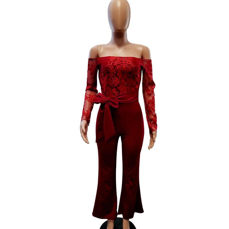 New Arrival koronkowy kombinezon kobiety Sexy Ladies elegancki Off ramię kombinezony z długim rękawem Femme pajacyki damskie spodnie szerokie nogawki strój