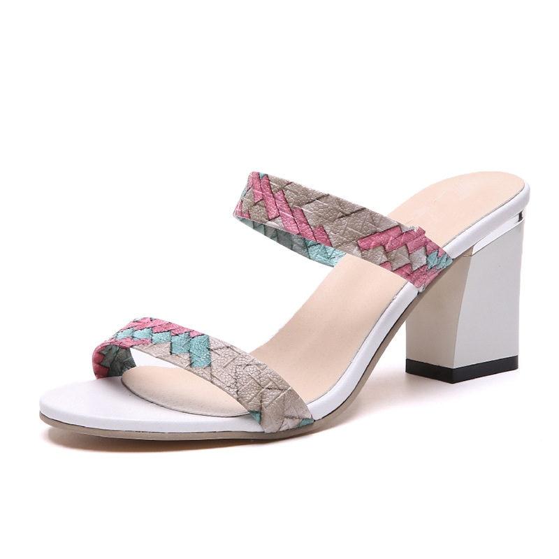 Ladies Excessive Heels Slippers 2019 Summer season Sq. Heel Footwear Lady Style Slip On Sandals Open Toe Feminine Informal Footwear SH030511 Slippers, Low-cost Slippers, Ladies Excessive Heels Slippers 2019...