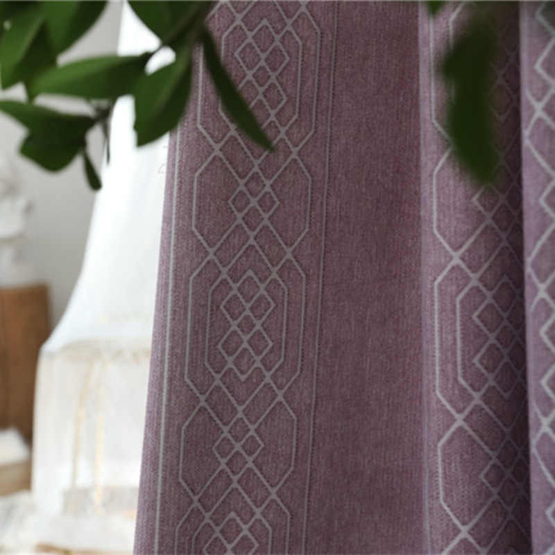 Simple Blackout Curtains Chenille New Jacquard Curtains for Living Dining Room Bedroom  Finished Processing