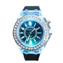 Personalidad Luminosa del Reloj de Las Mujeres Dial Analógico de Cuarzo Relojes de Las Mujeres de LA PU de Cuero de Lujo Del Diamante Reloj de Pulsera Deportivo Reloj reloj # N