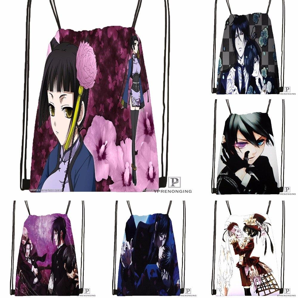 Custom Black Butler Ciel Phantomhive Drawstring Backpack Bag Cute Daypack Kids Satchel (Black Back) 31x40cm#180531-04-33
