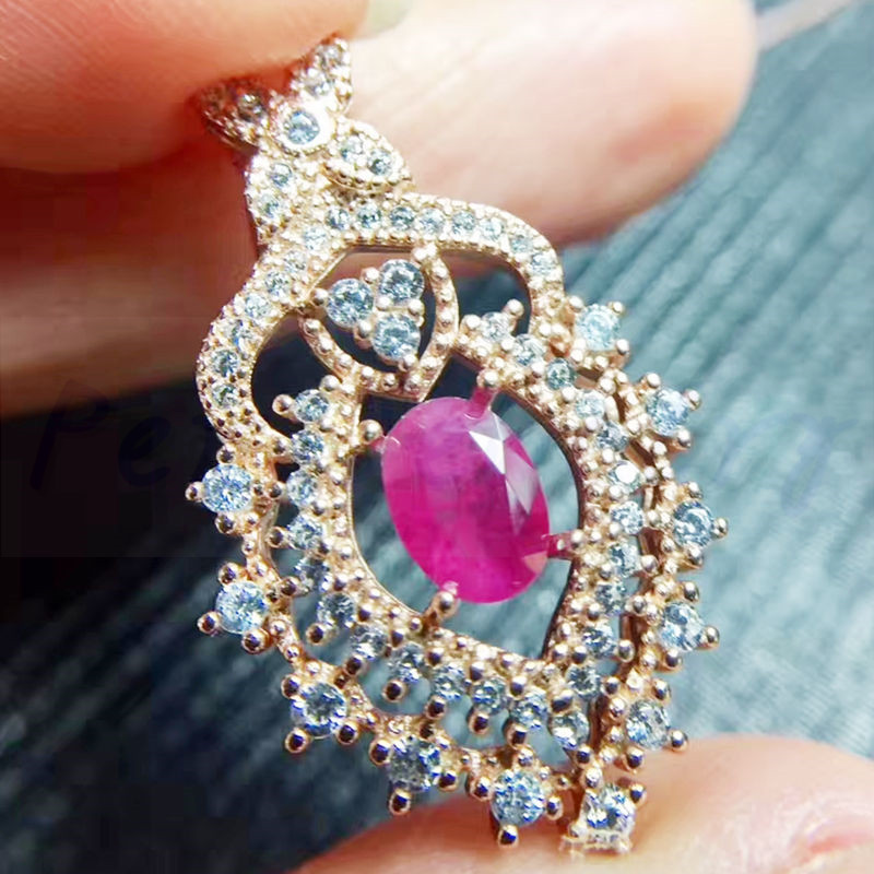 Origin ruby necklace pendant Free shipping 925 sterling silver Natural real ruby Handworked jewelry 1ct gemstone #TF18072404