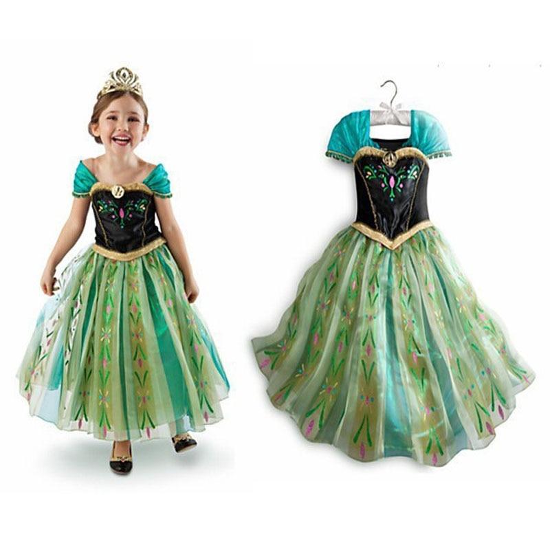 Модное Хлопковое платье для маленьких девочек, детская одежда, платья с пони для девочек, платья Эльзы и Анны вечерние Ринок, костюм принцес...