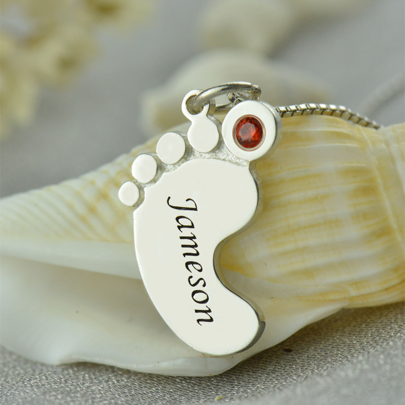 Best Birthstone Mom Necklace Baby Feet Necklace Engraved kids Name  CZ68