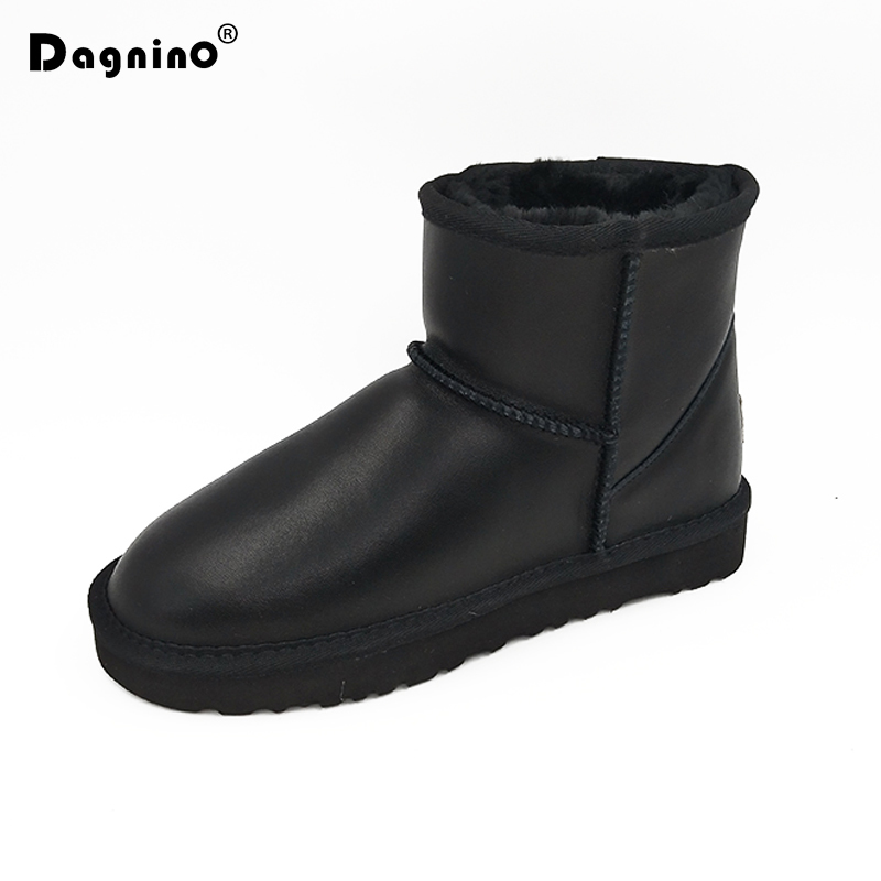 DAGNINO Brand Unisex Top High Quality Classic Style Waterproof Snow Boots Women Winter Warm Ankle Woman Genuine Leather Shoes