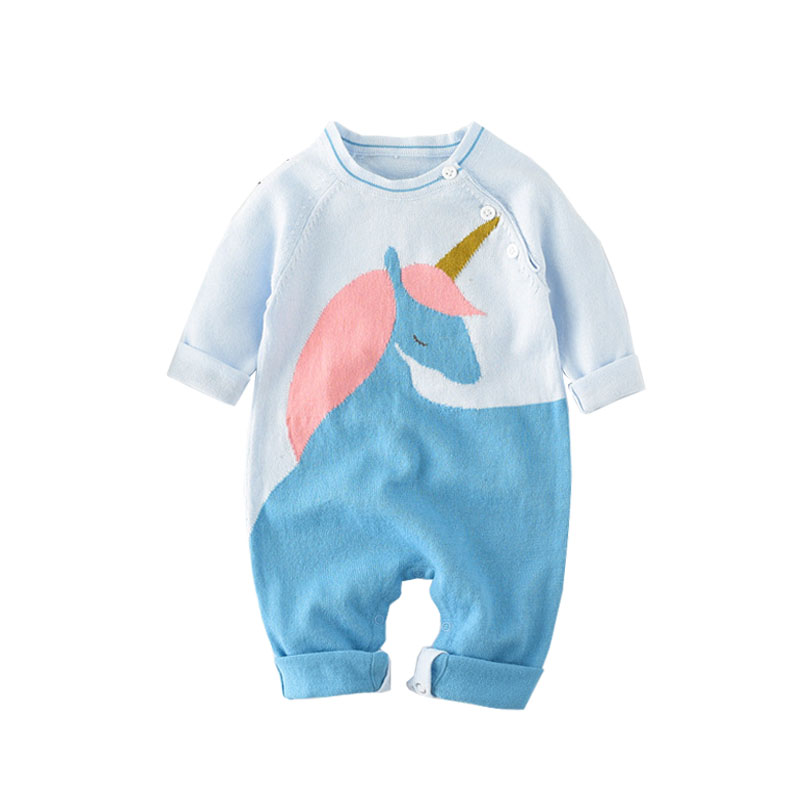 Knitted Unicorn Warm   Romper   Newborn Infant Baby Boy Girl Jumpsuit Long Sleeve One-pieces Cute Animal Outfits Fashion Clothes