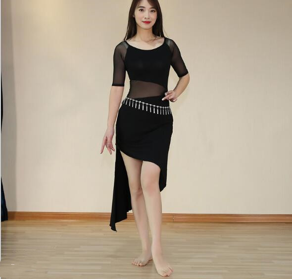 2019 Cheap One Piece Modal Dress Bellydance Outfit Sexy Mesh Oriental Dance Practice Show Skirt Black Long Sleeve