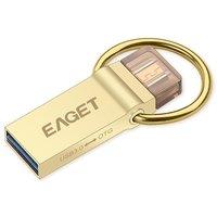 EAGET V90 USB 3.0 마이크로 USB OTG 32 그램 Pendrive 방수 플래시 드라이브 금속 키 링 황금 색상 안드로이드 전화 PC 노트