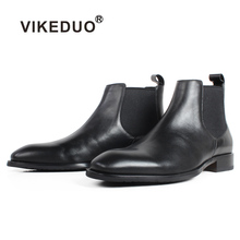 VIKEDUO Fashionable Black Calf Skin Chelsea Boots For Men Square Toe Slip-On Flat Handmade Leather Boots Men Patina Bespoke Shoe cie free shipping bespoke handmade genuine calf leather men s tassels slip on boat black suede navy matching shoe no loafer 17