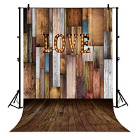 5x7ft Colorful Wooden Wall Floor Love Lanterns Polyester Photo Background Portrait Backdrop