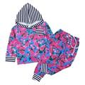 Baby Girls Boys Clothing Set Boy Girl Spring Cotton Hoodies Kids Striped 2Pcs Set Hooded Coat+Pants 0-5Yrs 2017 New D23