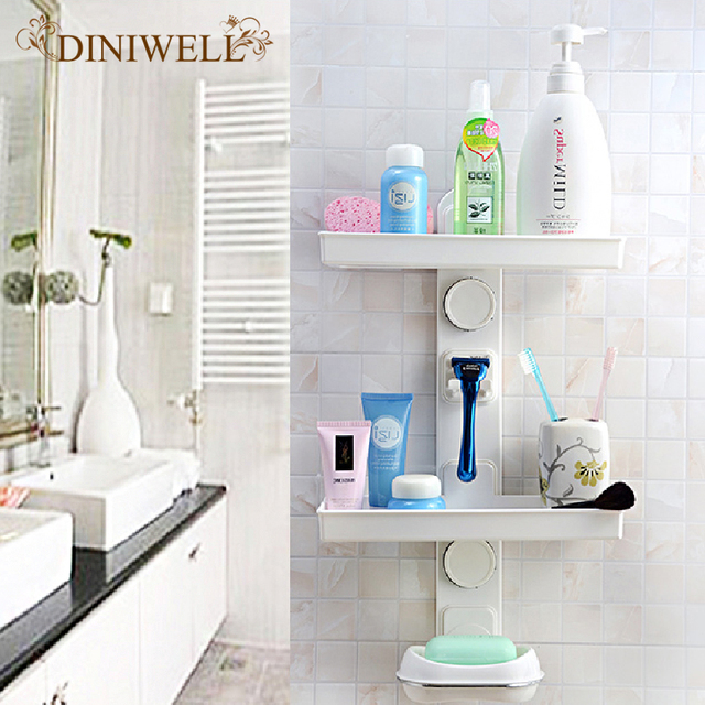 DINIWELL PC Kitchen Bathroom Hanging Storage DIY Double Shelves Wall  Mounted Rack Holders Organization With Soap