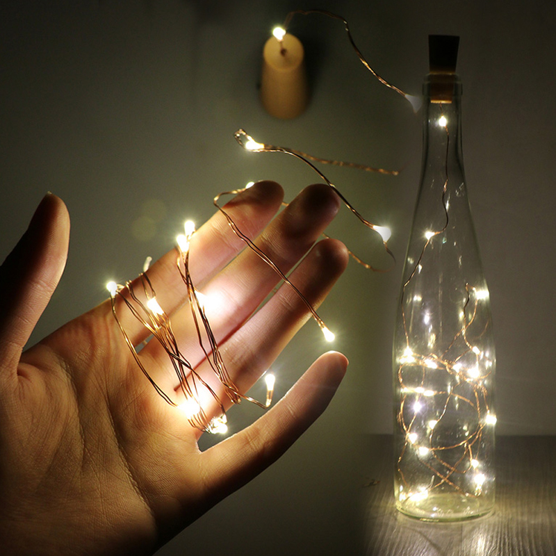 LanLan LED Garland Copper Silver Wire String Lights 20 LEDs Bottle Stopper Fairy Lights For Holiday Wedding Party Decor