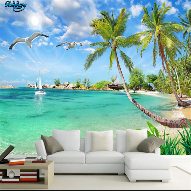 Beibehang Large Custom Wallpapers Summer Hawaiian Landscape Coconut Tree Mediterranean Sea TV Background Wall