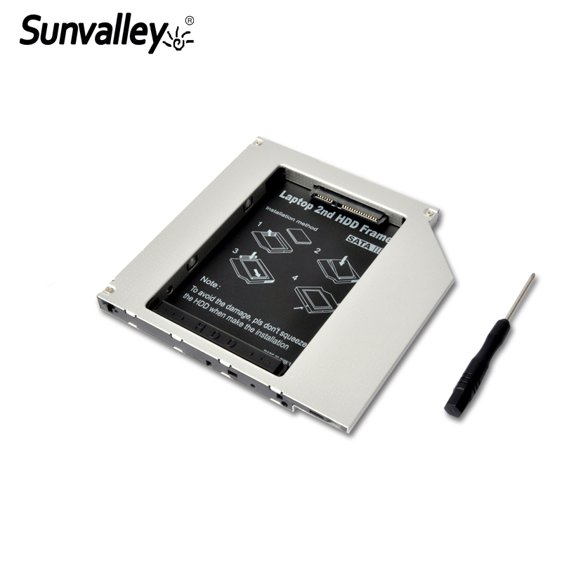 Sunvalley Ultra Thin SATA To SATA3 9.5mm Universal Aluminum 2nd Hdd Caddy For Laptop Notebook Series