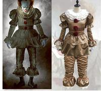 Stephen King's It Pennywise Cosplay Costume Adult Unisex Women Clown costume suit Custom made fancy Halloween Terror costume
