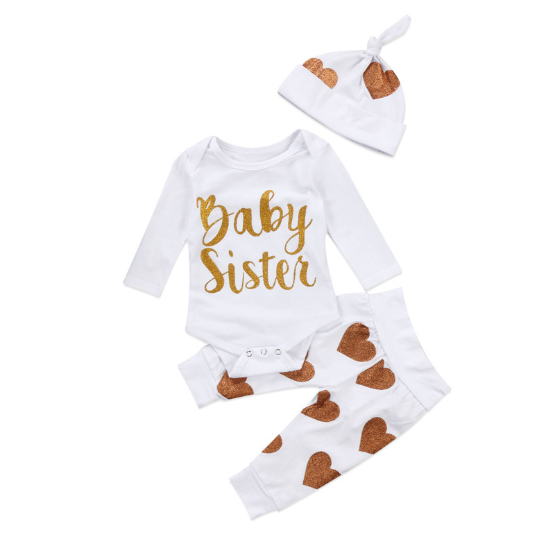 Casual Cotton Newest 3PCS Bling Heart Print Newborn Baby Girl Long-sleeved White Tops Romper Baggy Pant Hat Kid Outfits Clothes