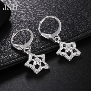 wholesale , For Lady women silver color earrings star charms wedding hook CUTE Bohemia fashion classic jewelry LE044