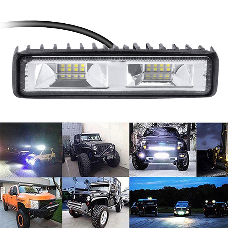 6 inch 48W <font><b>16</b></font> <font><b>LED</b></font> OffRoad Driving <font><b>Fog</b></font> <font><b>Lamps</b></font> Car Styling car accessories Work Light Bar Spot Flood Beam Bar Car image