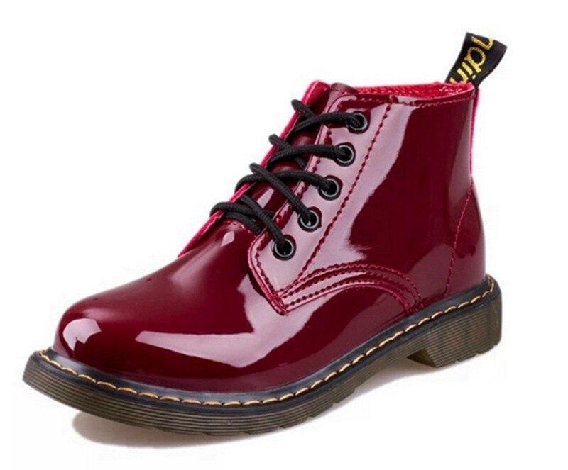 Cootelili/плюс Размеры Botas Лакированная кожа Сапоги и ботинки для девочек Для женщин школьный стиль Кружево до Обувь для девочек красные, черные ...