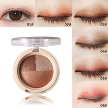 NOVO Eye Makeup 3 Color Shining Baked Eyeshadow Palette Shimmer Smoky Eye Shadow