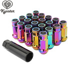 Neo Chrome Wheel Lug Nuts 20pcs M12x1.5 Rainbow Racing Steel Lock Lug Nuts Universal