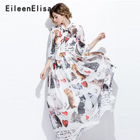 Casual Floor Length Dress White Summer 2018 Sweet Print Long Dresses Women White Bow Collar