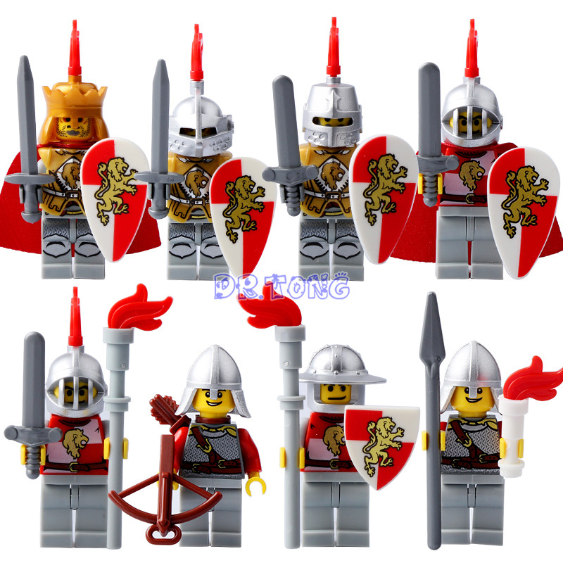 DR TONG Medieval Castle Knight Figures Red Lion with Weapons Single Sale Building Blocks Figure Bricks