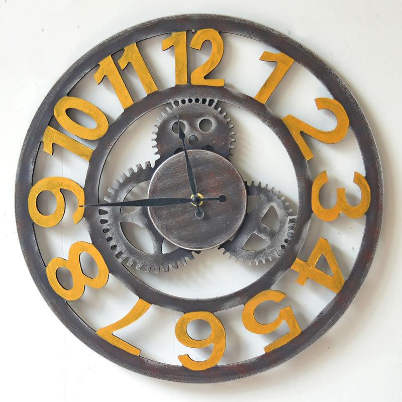 40cm loft industry style retro gear arab digital wall clock hollow out large clocks bar restaurant decoration