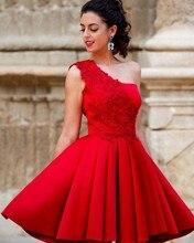 Günstige Ein Schultergurt Kurz Prom Kleider mit Spitze Puffy Drapierte Mini Party Kleid Mädchen Abendkleider vestido de festa