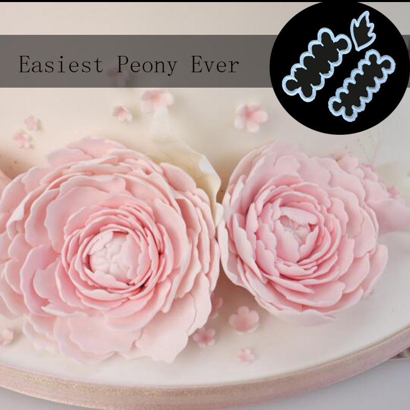 HEARTMOVE 3pcs/set Flower Peony Ever Decoration Cookie Cutter Shape Food Grade Plastic Cake Cutters Biscuit Mold Cake Tools 9857 image