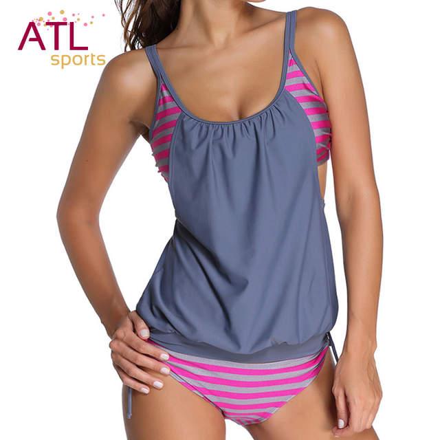 d378db31e maio feminino praia 2018 biquini plus size cintura alta Tamanho grande  Swimwear Women Feminino Maiô Listrado ...