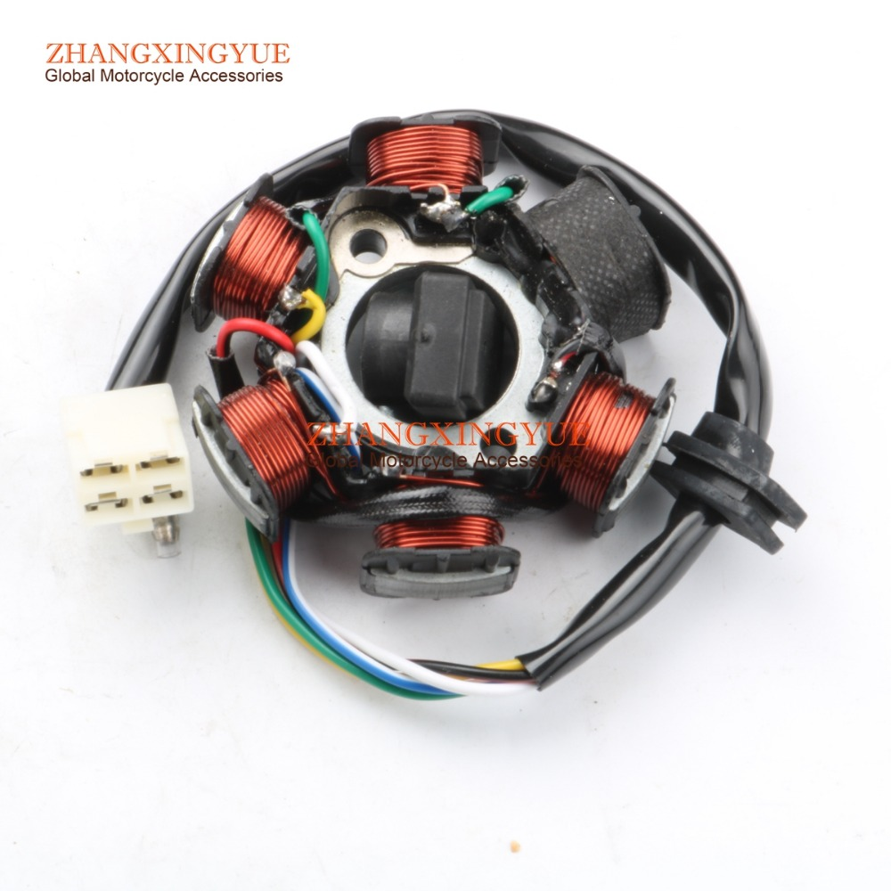 Magneto 6-Pole Stator Coil 50cc 110 cc ATV Engine Part Scooter Dirt Bike 4 Pin