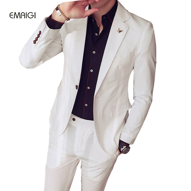 Man Thin Suits (jacket+pant) Spring Summer Men Fashion Slim Fit Business Casual Blazer Set Groom Wedding Party Dress Suits