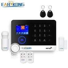 RFID APP WIFI GSM Alarm System Englisch Russisch Spanisch Deutsch Polnisch Italienisch Französisch Sprache GPRS RFID TFT Bildschirm Touch Tastatur